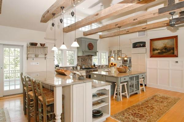 open kitchen with ceiling beams 47 Beautiful Country Kitchen Designs (Pictures