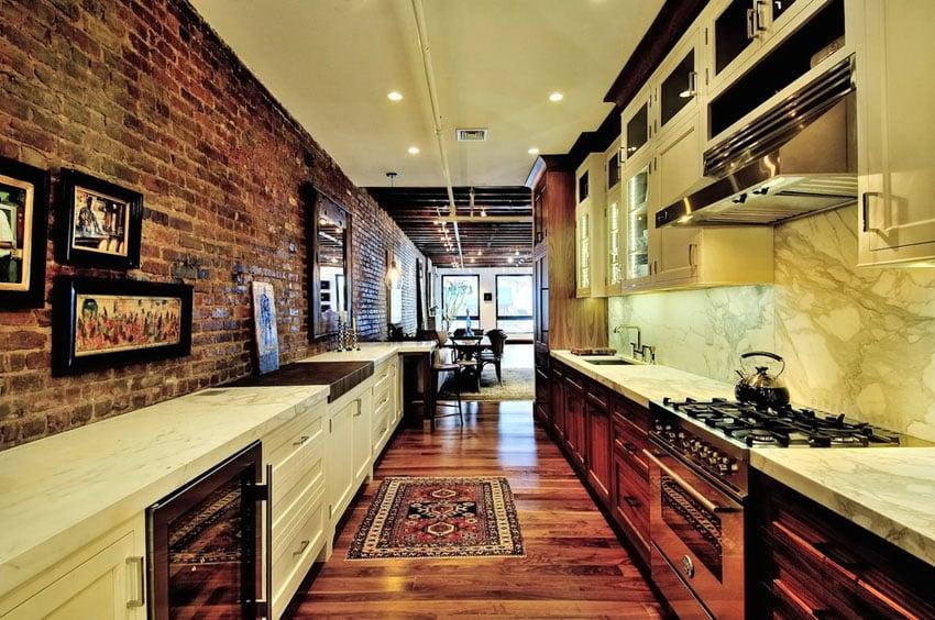 White Galley Kitchens Dark Walls