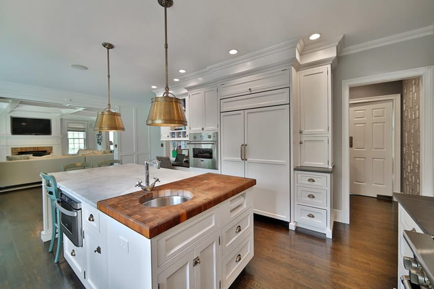 White Kitchen Island With Butcher Block Top white kitchen island with butcher block top transitional kitchen