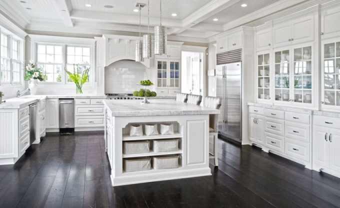s White Kitchen Cabinets Dark Wood Floors