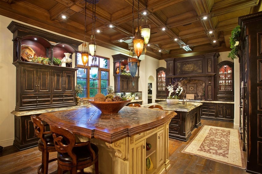 large kitchen islands with seating pegasus faucets luxury tuscan style house (interior & exterior pictures ...