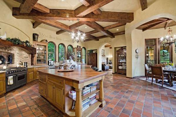 spanish style kitchen tiles floor ideas 35 Luxury Mediterranean Kitchens (Design Ideas