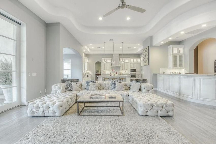 white tile floors in living room wooden ceiling designs 45 beautifully decorated rooms pictures designing idea contemporary with porcelain and tufted furniture