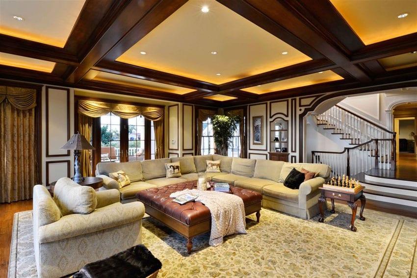 yellow area rug living room cheetah print decor 30 craftsman rooms (beautiful interior designs ...