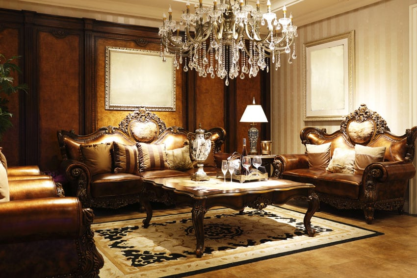Formal Leather Living Room Furniture