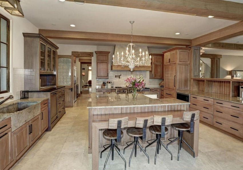 kitchen island with bar utensils strainer 37 gorgeous islands breakfast bars pictures solid wood cabinet dining and chandelier
