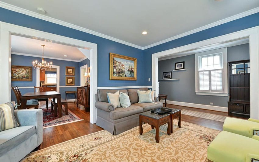 living room decor blue walls ideas black and white 26 interior design pictures designing idea traditional with crown molding