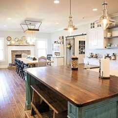 Country Kitchen Islands Banquette 26 Farmhouse Ideas Decor Design Pictures Designing Idea With Green Distressed Wood Island Countertop Plank Hardwood Flooring And Ceramic