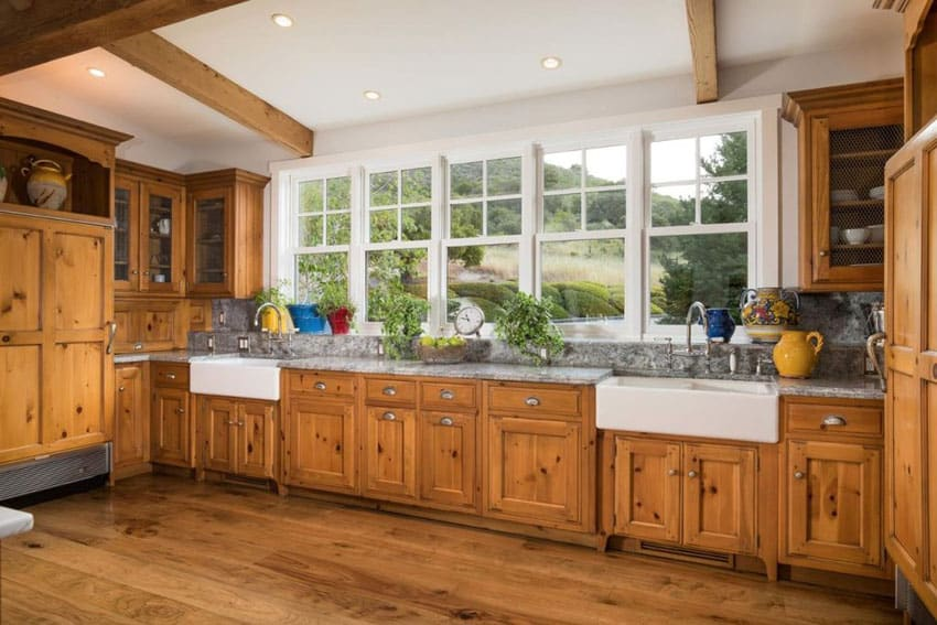 kitchen wood cabinets cheap stainless steel appliances farmhouse door styles colors ideas designing country with dual sinks and knotty