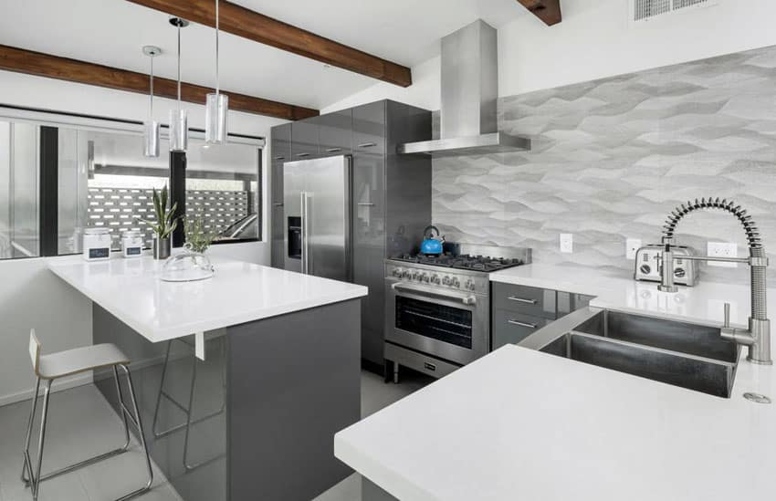 grey kitchen backsplash black storage cabinet 30 gray and white ideas designing idea contemporary with cabinets countertops metallic exposed wood beams