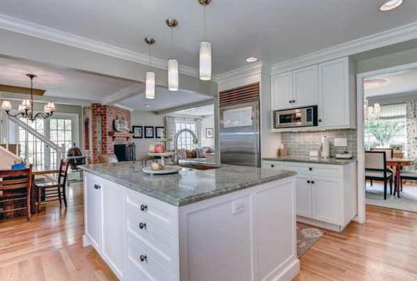 white kitchen with grey granite 30 Gray and White Kitchen Ideas - Designing Idea