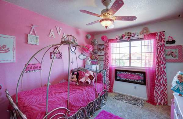 little girls pink bedroom with canopy bed 23 Little Girls Bedroom Ideas (Pictures) - Designing Idea