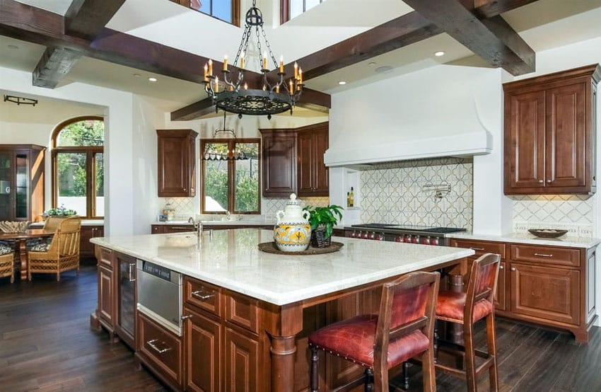 tuscan style kitchen oval table pedestal 29 elegant ideas decor designs designing idea beautiful with white marble counter and dark wood floors