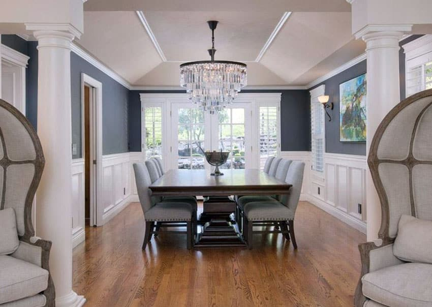 gray upholstered dining chairs patio chair slipcovers two tone room ideas (pictures) - designing idea