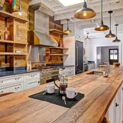 Wood Kitchen Counters Built In Garbage Cans Countertops Design Ideas Designing Idea Country With White Cabinets And Long Reclaimed Barn Counter Island