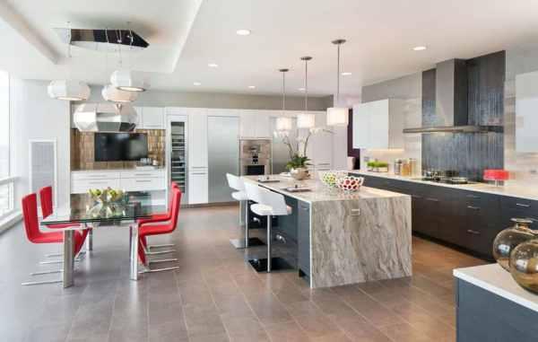 modern waterfall kitchen island countertop Beautiful Waterfall Kitchen Islands (Countertop Designs) - Designing Idea