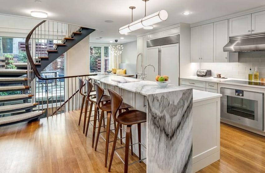 kitchen islands with breakfast bar walnut cabinets beautiful waterfall (countertop designs ...