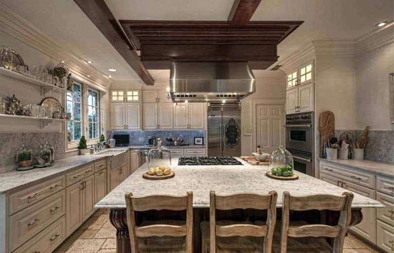 farmhouse kitchen cabinets bar stools amazon door styles colors ideas designing with white marble countertops and off