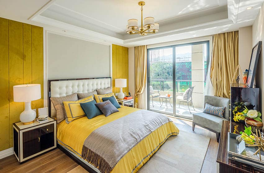 Stylish Gray Yellow Bedroom Designs Designing Idea