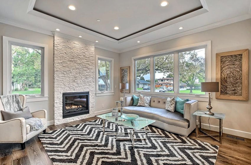 ceiling design living room 2018 pitchers trends for designing idea contemporary with wood floors gas fireplace and tray