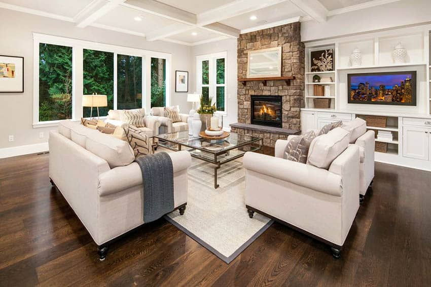 living room floor ideas beige turquoise flooring top interior designs designing idea with dark hardwood stone fireplace and box ceiling