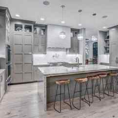 Gray Kitchen Cabinets Ceiling Fan Design Ideas Designing Idea Contemporary With Light Wood Floors And White Textured Backsplash