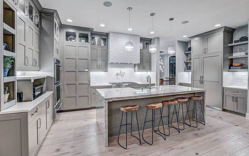 grey kitchen cabinets island rustic gray design ideas designing idea contemporary with light wood floors and white textured backsplash