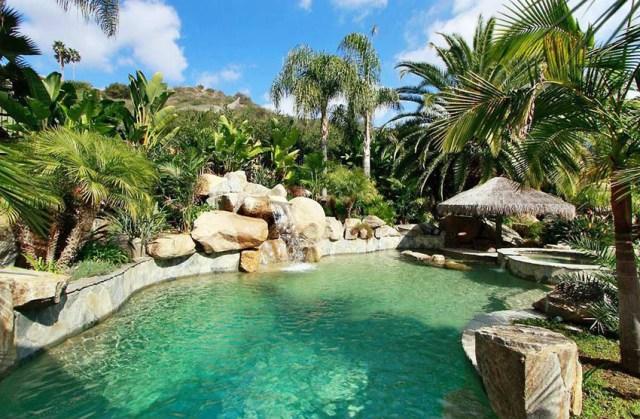 Kaya şelalesi ve tropikal peyzaj ile lagün yüzme havuzu tasarımı