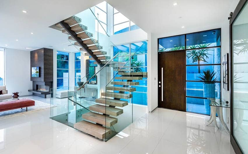 60 Gorgeous Stair Railing Ideas Designing Idea | Stair Railing Design Modern With Glass | L Shape | Interior Residential Metal | Simplistic | Grill | Button Glass
