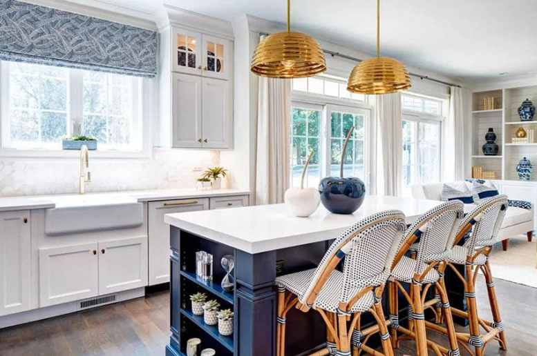 Kitchen with island and open shelves decor