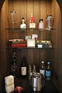 Deer Path Inn Hotel Room liquor cabinet