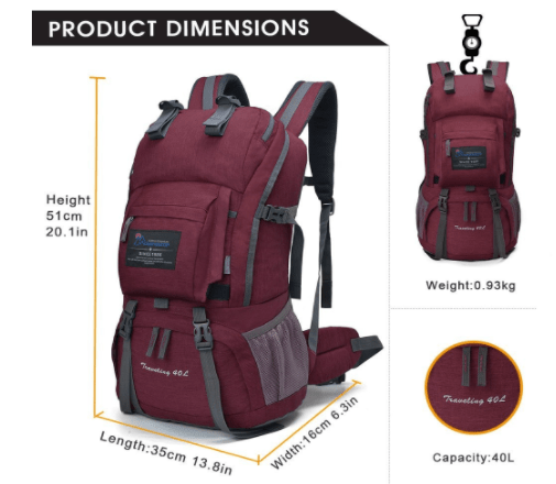 backpack dimensions