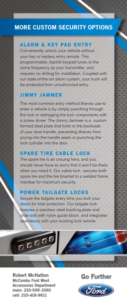 The back of the McCombs Ford rack card