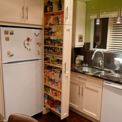 Narrow Kitchen Cabinet Stainless Steel Garbage Can The Beside Fridge Pulls Out To Reveal A