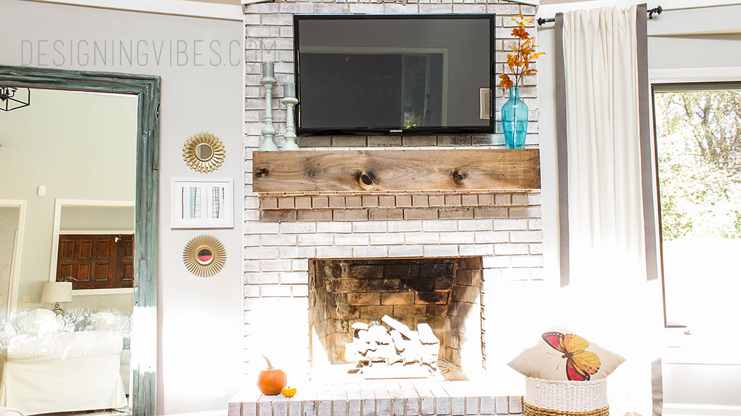 neutral fall mantel decor