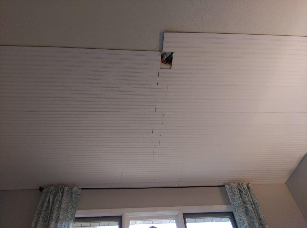beadboard plank ceiling diy