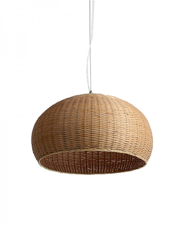 Rustic Style Pendant Light with Bamboo Weaved Ball Shade