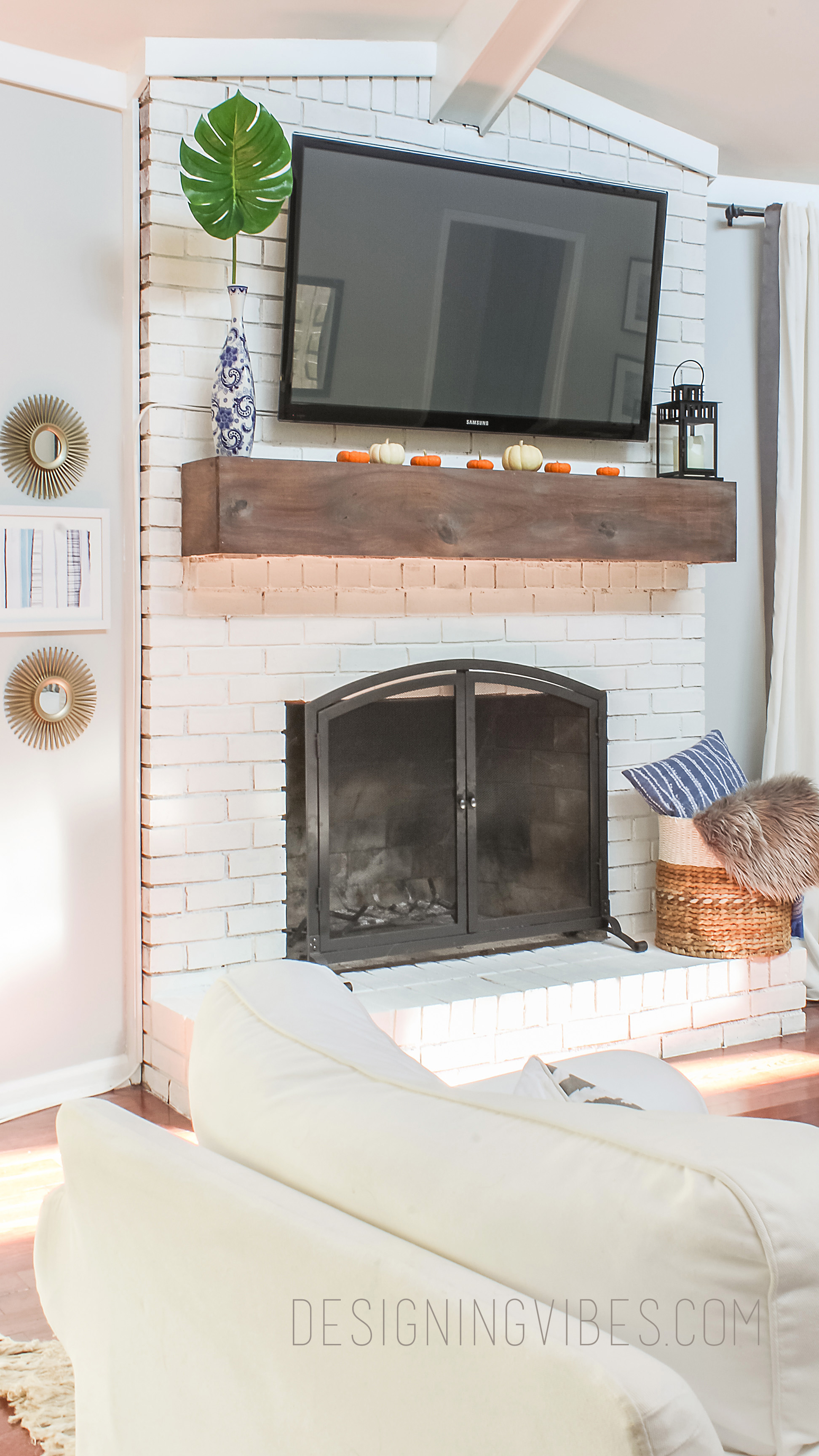 diy wood beam mantel Wood Beam Mantel DIY For Under  30 FIreplace Makeover