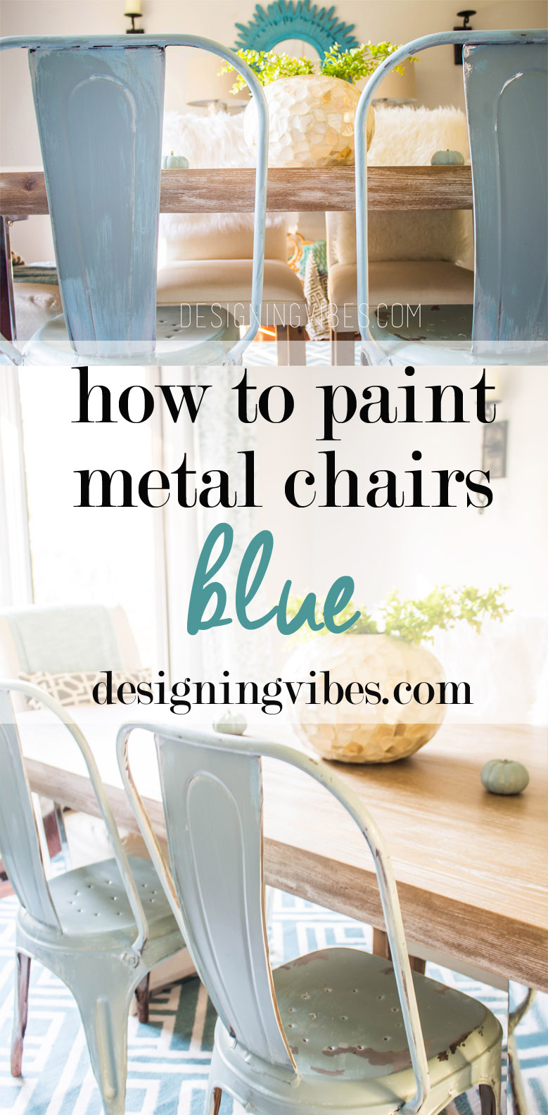 How to Paint Metal Chairs - Blue Metal Chairs
