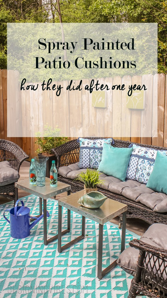 I spray painted my patio furniture cushions and here is how they held up after one year.