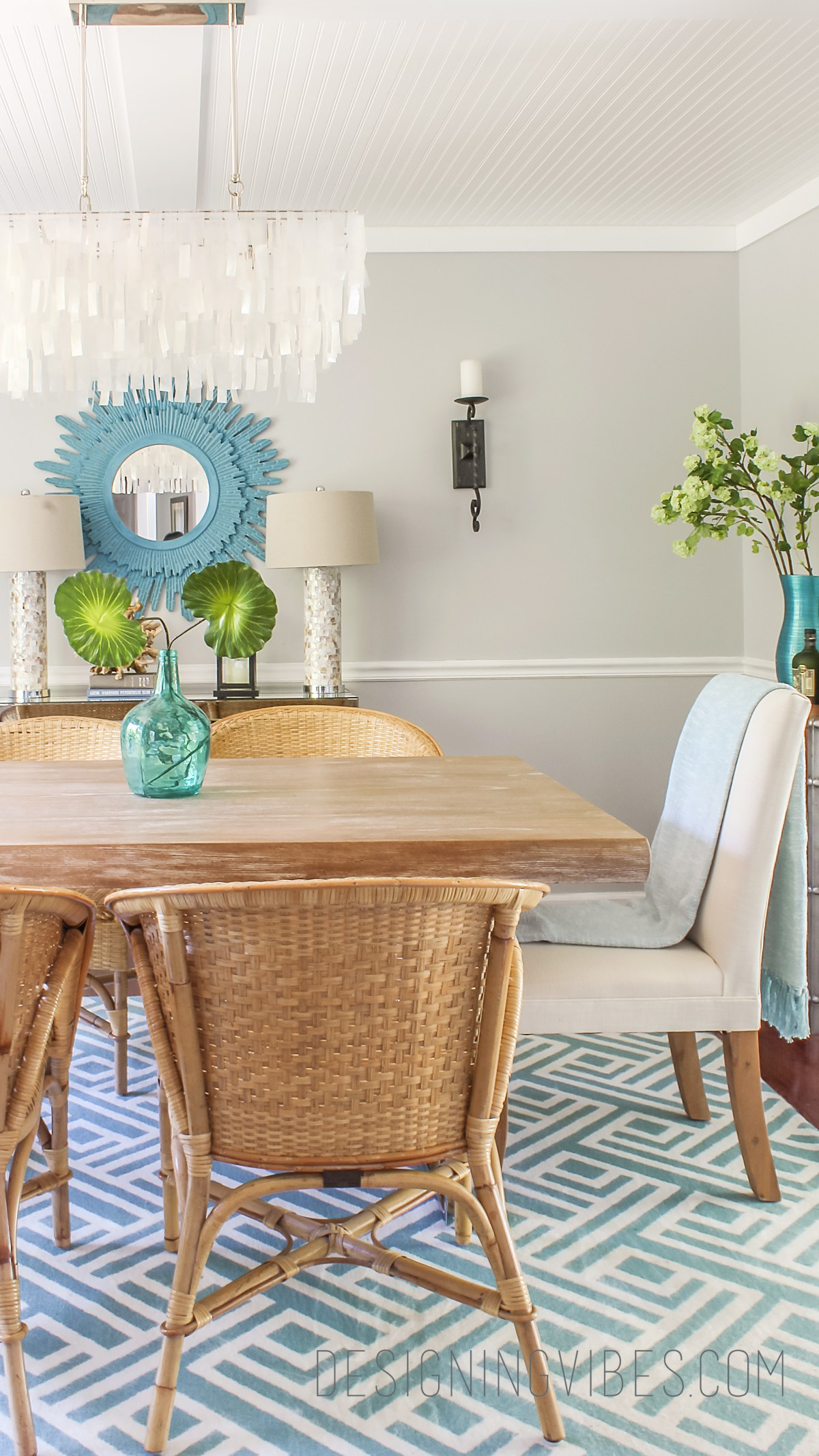 modern rattan chairs in dining room coastal