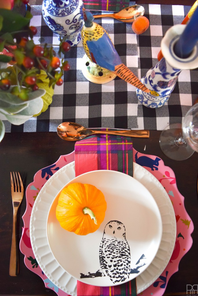 eclectic colorful thanksgiving tablescape