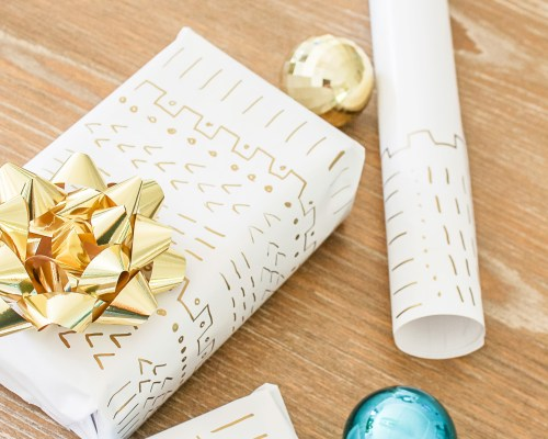 diy mudcloth wrapping paper