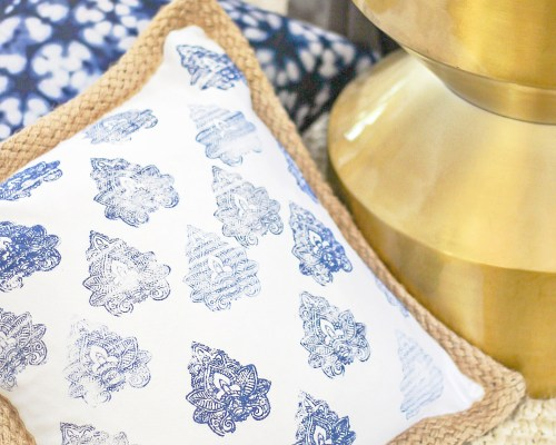 diy no sew stamped pillow cover
