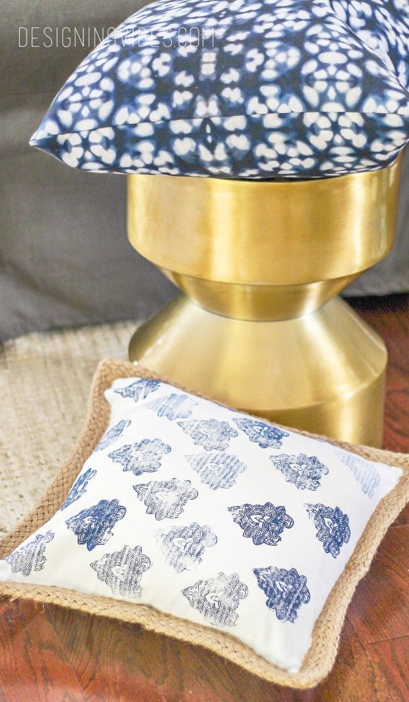 diy no sew hand-blocked boho pillow