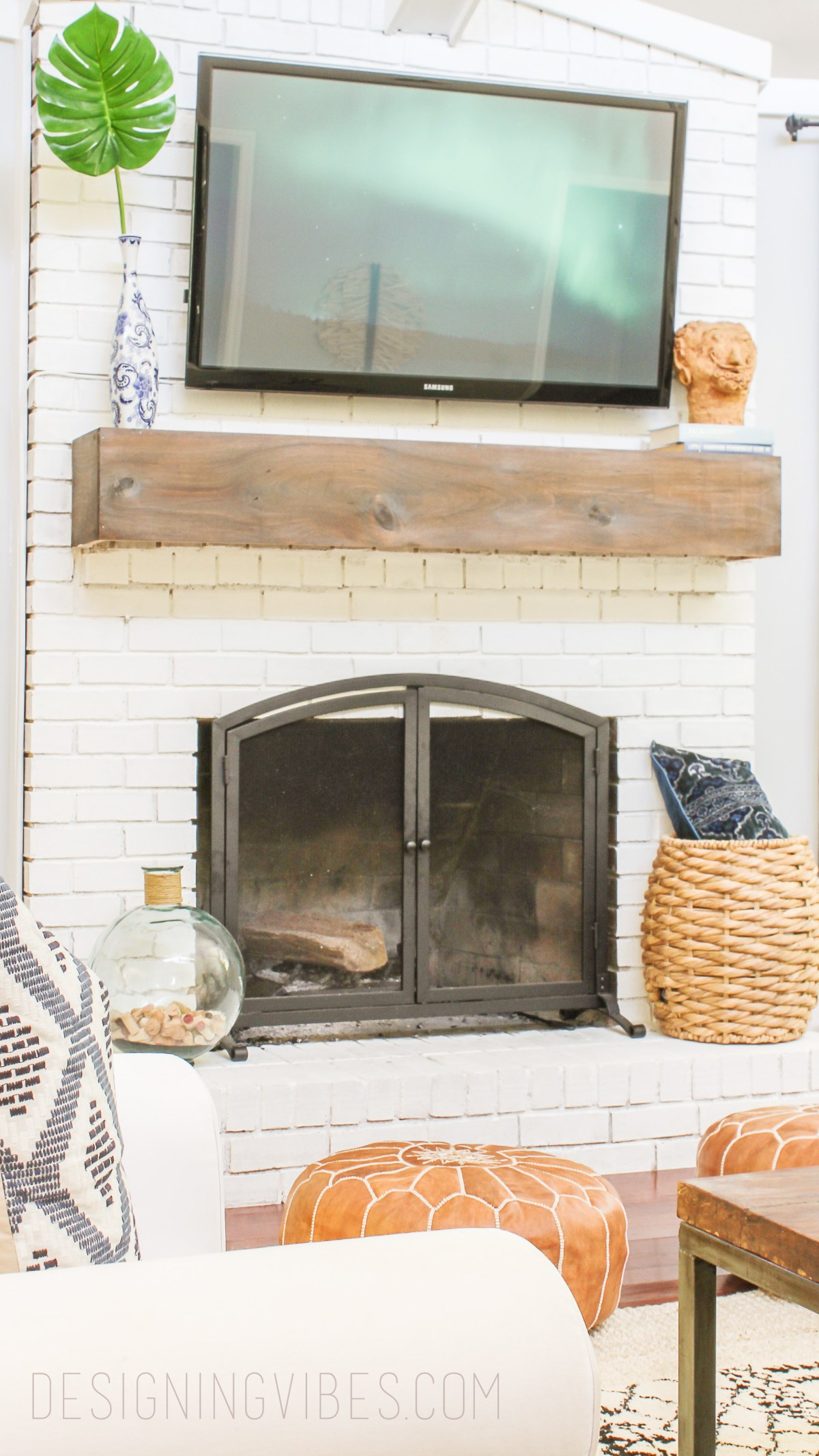 How to makeover your fireplace on the cheap and easy - How to make a brick fireplace look modern ...