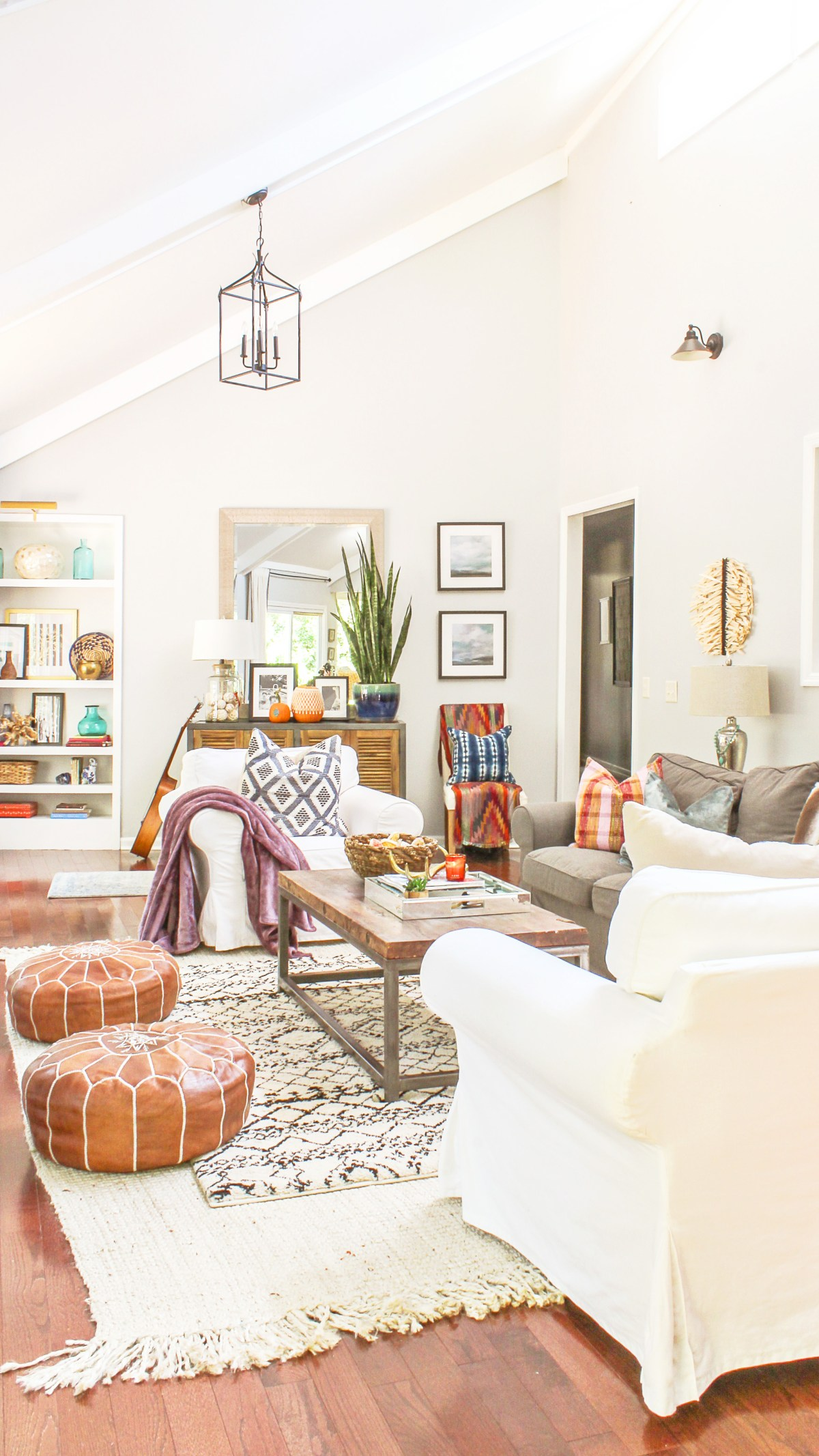 boho modern living room fall decor