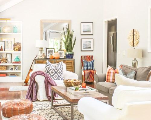 boho modern living room fall decor