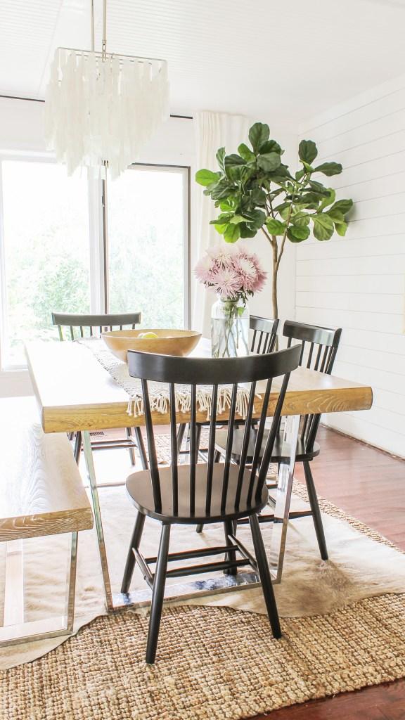 modern boho farmhouse dining room makeover ideas