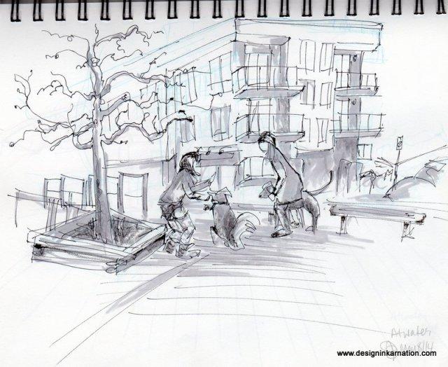 Urban sketching, atwater market, Julie Prescesky